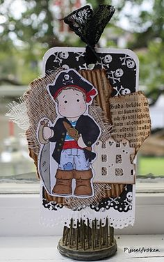 Pirate Tag - Scrapbook.com - Super cute pirate tag! #scrapbooking #tags