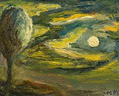 Mauno Markkula: Puu aamuvalaistuksessa, öljy levylle, 33x41,5 cm - Bukowskis Expressionism, Finland, Auction, Painting, Painting Art, Paintings
