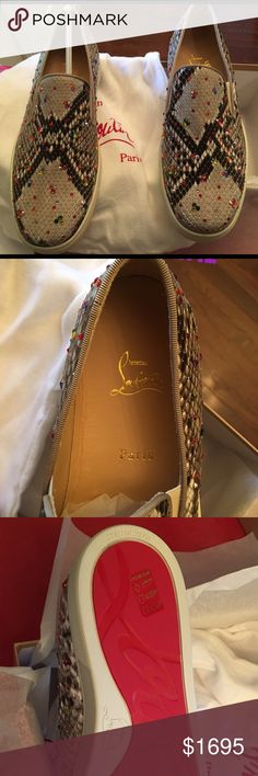 Christian Louboutin Python Boat Flats 40 IT/9 US Price Negotiable! Gorgeous 100% Authentic Christian Louboutin python boat flat. Size is WOMEN'S 40 IT which is ideal for US 8.5 Or 9 M OR MEN'S 7 but please know your size and try on CL boat shoes to know for sure. PYTHON BOAT FLAT -matte brown python skin. Sparkling multi-color lune stones.Signature tan sidewall coupled with its instantly recognizable red bottoms. Brand new in Box. Includes Original box, white dust bags (one for each shoe as…