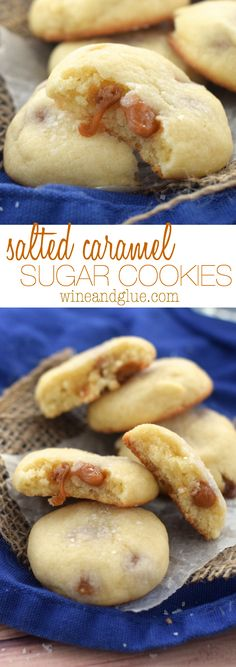 These Salted Caramel Sugar Cookies are AMAZING! Melt in your mouth delicious! These Salted Caramel Sugar Cookies are AMAZING! Melt in your mouth delicious! Mini Desserts, Cookie Desserts, Just Desserts, Cookie Recipes, Delicious Desserts, Dessert Recipes, Yummy Food, Yummy Cookies, Sugar Cookies