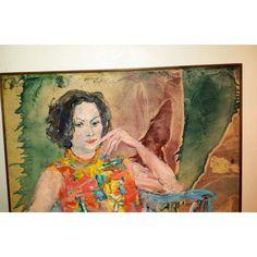 "1968 ""Summer Breeze"" Woman Portrait Painting - Image 6 of 10"