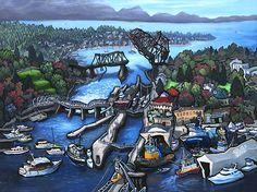 """""""Ballard Locks - Seattle"""" Original painting on wood panel"""