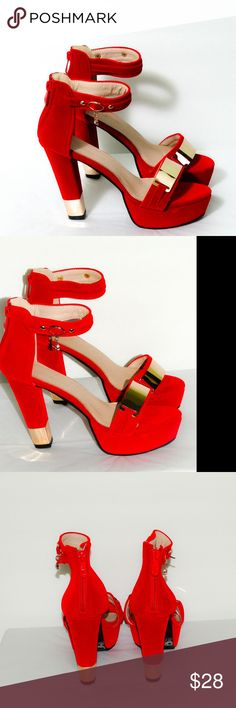 """Zipper Back Velvet Platform Heel Sandal This is a beautiful pair of red velvet shoes with  golden accent on the top strap and on the heels.  Heel height: 4.50"""" Platform height: 1.5"""" Man made materials Made in China Shoes Platforms"""