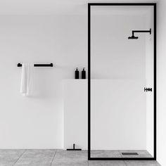 Matt black bathroom shower screen