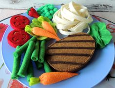 Felt Food, Felt Dinner Set, Felt Beef Steak Vegetables Fruits, children's party pretend play food toy kitchen. montessori toy, Birthday Gift