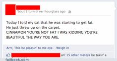 I don't know what's funnier: the actual status or the fact that this person's language was set to pirate....