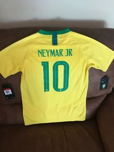 9be0a7fb0a20 Details about Nike Brasil Neymar JR  10 National Team Soccer Jersey NWT  Size Large Youth