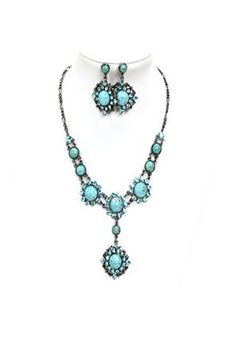 """Add a sweet feminine touch with this trendy Turquoise fashionable necklace and earning set  Length: 14"""" long   2.5"""" extension   Imported"""