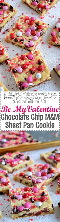 Be My Valentine M&M Chocolate Chip Sheet Pan Cookie | Posted By: DebbieNet.com