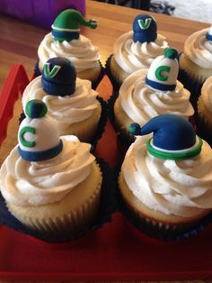 Vancouver Canucks Cupcakes Canada Hockey, Brookies, Vancouver Canucks, Cupcakes, Birthday, Desserts, Food, Tailgate Desserts, Cupcake Cakes