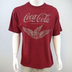 Newport Blue Coca-Cola Wing Bottle Graphic Logo T-Shirt Size XL Red Coke M278 #NewportBlue #GraphicTee