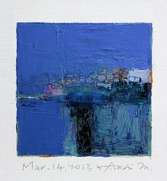 Mar. 14, 2013 - Original Abstract Oil Painting - 9x9 painting (9 x 9 cm - app. 4 x 4 inch) with 8 x 10 inch mat