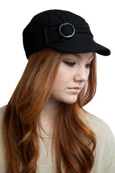 ACDR2040 BLACK Military cadet hat for women with short visor and a round  buckle 7headz http 53dad7a789f4