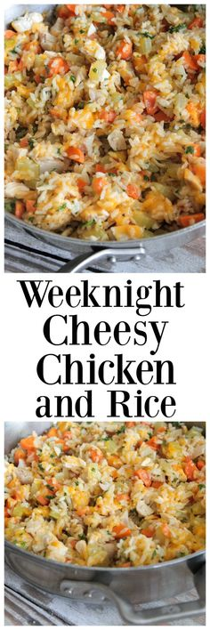 and Rice Weeknight Cheesy Chicken and Rice makes the perfect One-Pot meal any night of the week. The whole family loves this one!Weeknight Cheesy Chicken and Rice makes the perfect One-Pot meal any night of the week. The whole family loves this one! Rice Dishes, Food Dishes, Main Dishes, Le Diner, One Pot Meals, One Skillet Meals, Skillet Recipes, Quick Meals, Quick Family Dinners