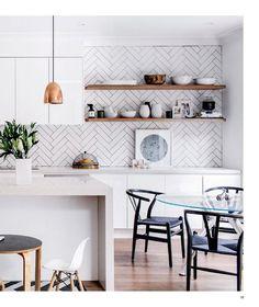 Amazing! Splashback, wooden shelf, bench, pendent & wishbone chairs