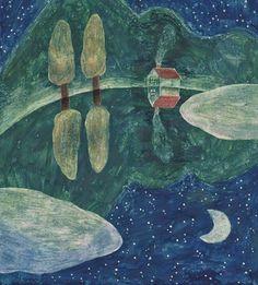 しんと静まり返った夜。満天の星と金色の三日月は穏やかな湖面に反射し、静かに夜を彩ります。小さなお家の煙突からは温かな湯気が立ち上り、温かな食卓が連想されます。なんでもない夜の1シーンの美しさに、はっと気づかされる作品です。