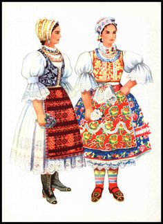 Vojvodina Ethnic Dress Print, Two Woman in Traditional Dress, Backa, Folk Costume, Vladimir Kirin