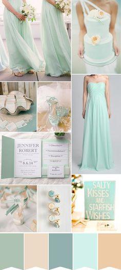 mint green and neutral beach wedding color ideas