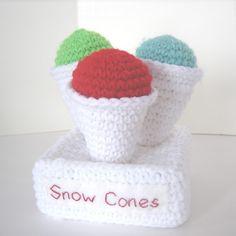 Crocheted Play Food Snow Cones