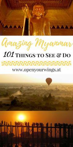 Heute zeige ich dir 101 Must Sees in Myanmar: Dinge, die du auf deiner Myanmar Reise erlebt und probiert haben musst, Sachen, die du auf gar keinen Fall versäumen darfst und was es in Myanmar alles zu entdecken gibt! Travel To Do, Asia Travel, Yangon, Mandalay, Amarapura, Vacation Places, Vacations, Inle Lake, At A Glance