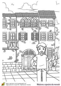 Coloriage / dessin maison ancienne italie