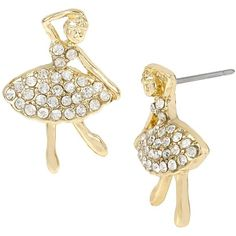 Betsey Johnson Ballerina Rose Dander Stud Earrings ($25) ❤ liked on Polyvore featuring jewelry, earrings, crystal, stud earring set, pave earrings, ballet earrings, antique rose gold jewelry and stud earrings