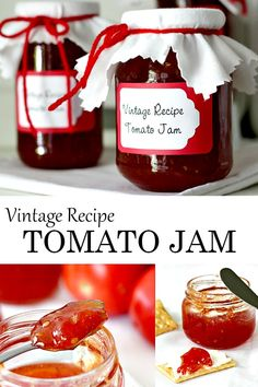 Just tomatoes, sugar and lemon or lime juice cooked together is all it takes to make old-fashioned Tomato Jam. From a vintage recipe, it is delicious served as an appetizer with cheese and crackers or just spread on toast. Tomato Jelly, Preserving Tomatoes, Christmas Jam, Jam And Jelly, Jelly Recipes, Chutney Recipes, Canning Recipes, Vintage Recipes, Food To Make