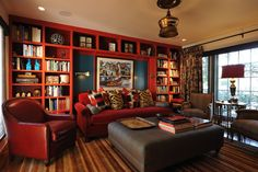 love the red shelves