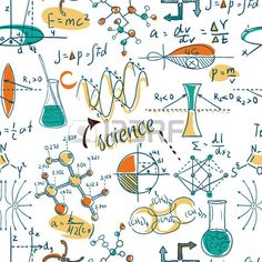 Back to School science lab objects doodle vintage style sketches seamless pattern vector illustratio Stock Vector