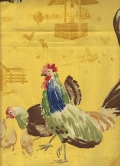 chairs in Rooster Fabric Tent Fabric, Drapery Fabric, Fabric Decor, Fabric Design, Chicken Lady, Chicken Runs, Farmhouse Fabric, Chickens And Roosters, Down On The Farm