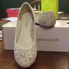 Lace flats embellished with Swarovski crystals and pearls