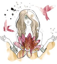 View Stock Illustration of A Watercolor Illustration Of A Woman With A Waterlily And Hummingbirds. Find premium, high-resolution photos at Getty Images. Photo Illustration, Watercolor Illustration, Buddhist Philosophy, Illustrator Tutorials, Water Lilies, Free Illustrations, Peace And Love, Creative Art, Meditation