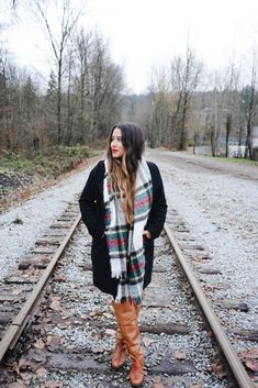 Plaid Scarf and OTK Boots