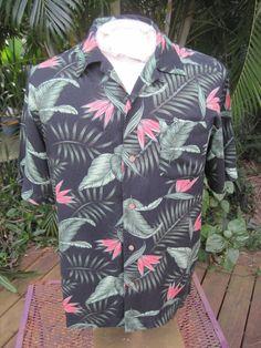 3ae22e81 HAWAIIAN Aloha SHIRT M pit to pit 23 PURITAN rayon tropical bird of paradise  #SeeDescription