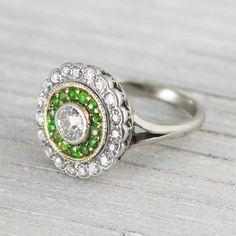 Image of .40 Carat Edwardian Flower Cluster Diamond Engagement Ring