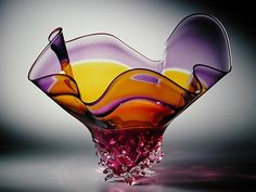 """Knobby Double Incalmo Bowl"" Art Glass Bowl Created by David Van Noppen"