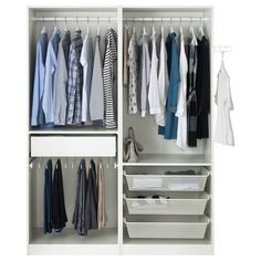"""View the PAX Wardrobe, white, Auli mirror glass, """". This wardrobe combination is just as good looking on the outside as it is clever on the inside. Small Room Bedroom, Bedroom Decor, Bedroom Ideas, Small Rooms, Pax Planer, Glass Wardrobe, Open Wardrobe, Armoire Pax, Couple Room"""