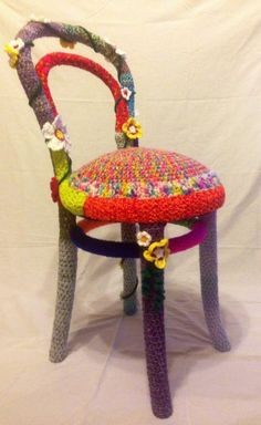 Totally Unique - One Of A Kind - Hand Crafted Crocheted Yarn Bombed Flower Chair