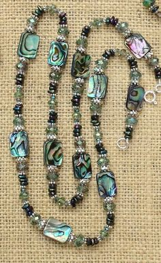 Abalone necklace with Czech glass rondelles, Chinese crystal, and seed beads-color scheme for aboline