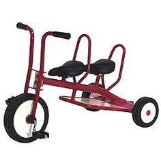Red double tricycle.