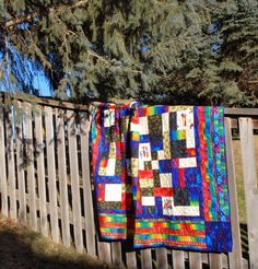 Handmade Cotton Lap Quilt Laurel Burch Holiday by MonkeyMuffin