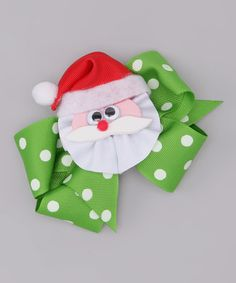 Look what I found on #zulily! Green Polka Dot Bow & White Santa Clip #zulilyfinds