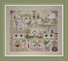 Sampler Printemps is the title of this cross stitch pattern from Jardin Prive that is stitched with DMC threads.