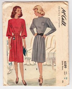 "Vintage Sewing Pattern 1940's Junior's Dress McCall 6589 Size 33"" Bust MISSING INSTRUCTIONS"