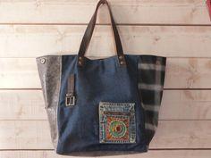 sac cabs bleu gris doublé étoiles : Sacs à main par sacakoi