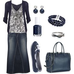Modest navy and gray denim outfit and accessories Modest Dresses, Modest Outfits, Skirt Outfits, Modest Fashion, Fall Outfits, Casual Outfits, Cute Outfits, Fashion Outfits, Womens Fashion