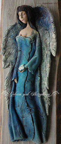 Anioł Niebieski - do zawieszenia na starej, pobielonej,desce - na zamówienie  szerokość (deski): 20 cm  wysokość (deski): 5...