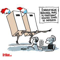 Iran: le président Rohani à Paris - Dessin de Deligne