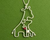 Giraffe Birthstone Necklace, Mother and Baby, Sterling Silver, Box Chain, Made To Order