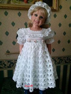 Crochet Dress Girl, Crochet Baby Dress Pattern, Baby Girl Dress Patterns, Gown Pattern, Baby Girl Crochet, Crochet Doll Clothes, Little Girl Dresses, Baby Christening Dress, American Girl Crochet